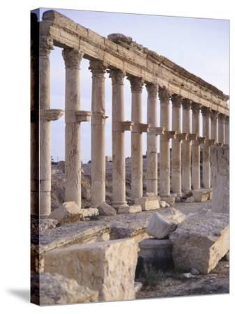 Syria, Palmyra, Colonnaded Street Near Roman Theater--Stretched Canvas Print