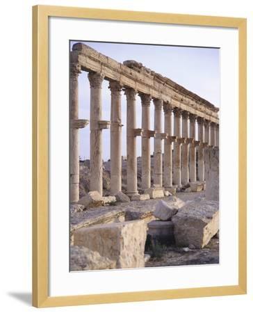 Syria, Palmyra, Colonnaded Street Near Roman Theater--Framed Photographic Print