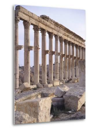 Syria, Palmyra, Colonnaded Street Near Roman Theater--Metal Print