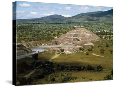 Pyramid of Moon Seen from Pyramid of Sun, Teotihuacan--Stretched Canvas Print