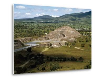 Pyramid of Moon Seen from Pyramid of Sun, Teotihuacan--Metal Print