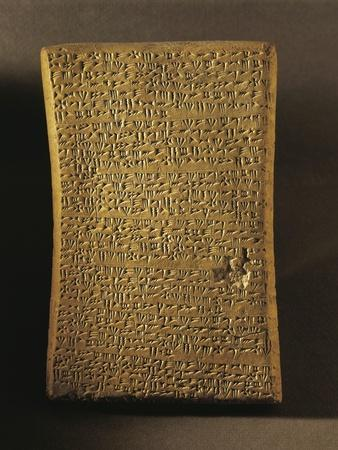 Wedge-Shaped Tablet Engraved with Ritual Text, Artifact from Ugarit--Framed Photographic Print