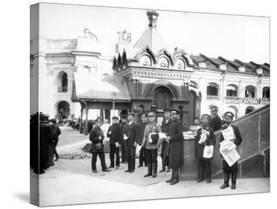 Newspaper Vendors on the Steps of the Duma, St Petersburg, C.Early C20th--Stretched Canvas Print