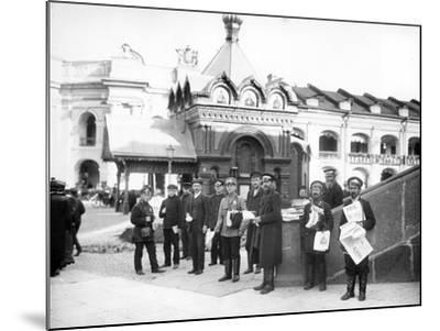 Newspaper Vendors on the Steps of the Duma, St Petersburg, C.Early C20th--Mounted Photographic Print