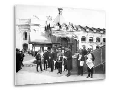 Newspaper Vendors on the Steps of the Duma, St Petersburg, C.Early C20th--Metal Print