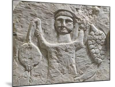 Limestone Stele Depicting Male Figure with Fruit, from Maktar--Mounted Photographic Print