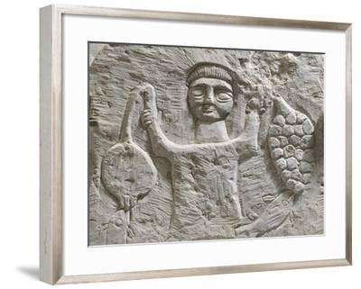 Limestone Stele Depicting Male Figure with Fruit, from Maktar--Framed Photographic Print