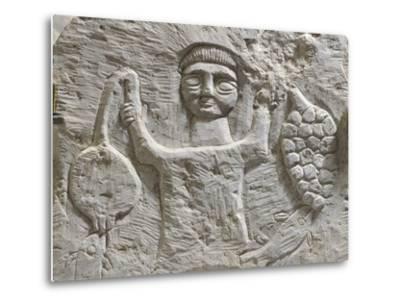 Limestone Stele Depicting Male Figure with Fruit, from Maktar--Metal Print