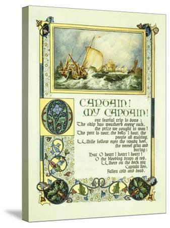 Opening Page of Walt Whitman's Poem 'O Captain! My Captain!' with a Vignette of a Harbour Scene-Alberto Sangorski-Stretched Canvas Print