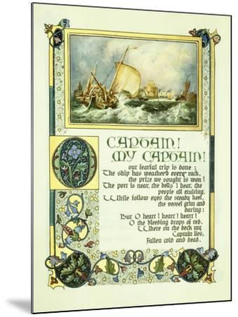 Opening Page of Walt Whitman's Poem 'O Captain! My Captain!' with a Vignette of a Harbour Scene-Alberto Sangorski-Mounted Giclee Print
