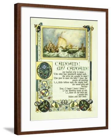 Opening Page of Walt Whitman's Poem 'O Captain! My Captain!' with a Vignette of a Harbour Scene-Alberto Sangorski-Framed Giclee Print