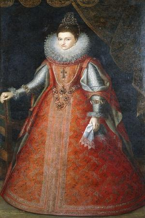 Portrait of the Infanta Isabella Eugenia, Standing Full-Length Wearing a Brocade Dress, 1593-Alonso Sanchez Coello-Framed Giclee Print