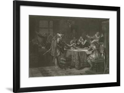 Henry Hudson Receiving His Commission from the Dutch East India Company, 1609-Alonzo Chappel-Framed Giclee Print