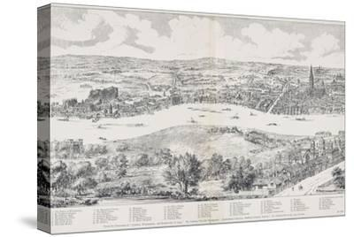 Panorama of London, Westminster and Southwark, Illustration from 'Maps of Old London', 1543-Anthonis van den Wyngaerde-Stretched Canvas Print