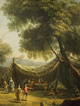 Tent in Countryside with Live Music, Detail from Spring-Antonio Diziani-Framed Giclee Print