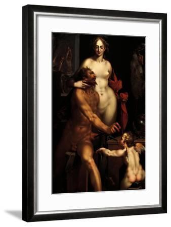 Venus in the Forge of Vulcan, Jupiter and Antiope-Bartholomaeus Spranger-Framed Giclee Print