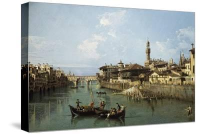 Arno River and Ponte Vecchio in Florence, 1742-Bernardo Bellotto-Stretched Canvas Print