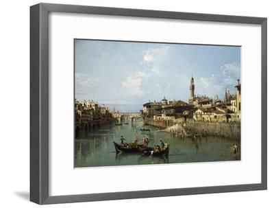 Arno River and Ponte Vecchio in Florence, 1742-Bernardo Bellotto-Framed Premium Giclee Print