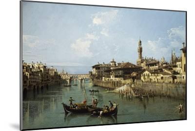 Arno River and Ponte Vecchio in Florence, 1742-Bernardo Bellotto-Mounted Premium Giclee Print