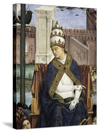 Italy, Siena, Cathedral, Piccolomini Library, Pius II Arriving in Ancona to Hasten Crusade-Bernardino Pinturicchio-Stretched Canvas Print