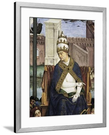 Italy, Siena, Cathedral, Piccolomini Library, Pius II Arriving in Ancona to Hasten Crusade-Bernardino Pinturicchio-Framed Giclee Print