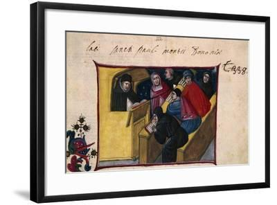 The Writer in the Pulpit with Six Disciples, Miniature from the Summa Casuum Conscientiae-Bartolomeo Da San Concordio-Framed Giclee Print
