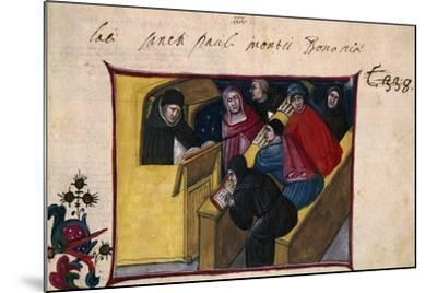 The Writer in the Pulpit with Six Disciples, Miniature from the Summa Casuum Conscientiae-Bartolomeo Da San Concordio-Mounted Giclee Print