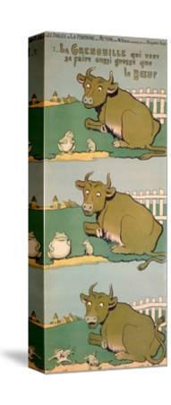 The Frog Who Would Grow as Big as the Ox, from 'Fables'-Benjamin Rabier-Stretched Canvas Print