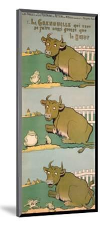 The Frog Who Would Grow as Big as the Ox, from 'Fables'-Benjamin Rabier-Mounted Giclee Print