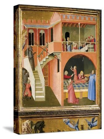 Miracle of St. Nicholas Reviving Boy Posed by Demon-Ambrogio Lorenzetti-Stretched Canvas Print