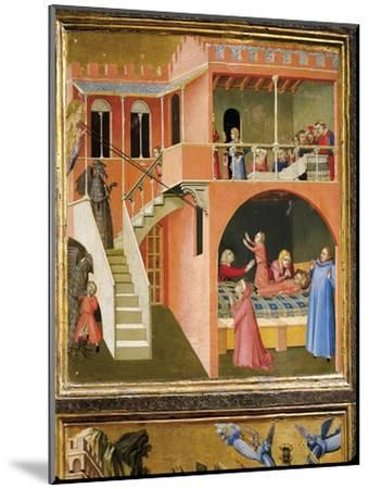 Miracle of St. Nicholas Reviving Boy Posed by Demon-Ambrogio Lorenzetti-Mounted Giclee Print