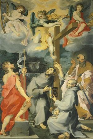 Altarpiece Depicting the Saints Baptist, Francis, Bernard and Paul in Ecstasy-Andrea Lilio-Framed Giclee Print