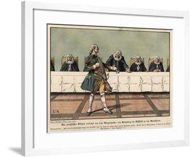 A Prussian Officer Demanding the Keys to the Town from the Mayor of Gruneberg-Carl Rochling-Framed Giclee Print