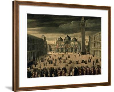 Procession of Doge and His Entourage in Piazza San Marco in Venice-Cesare Vecellio-Framed Giclee Print