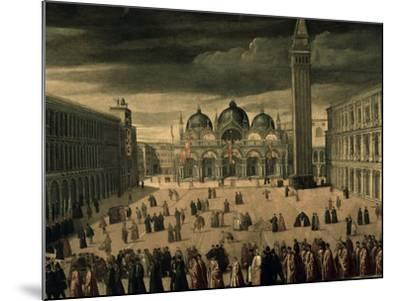 Procession of Doge and His Entourage in Piazza San Marco in Venice-Cesare Vecellio-Mounted Giclee Print