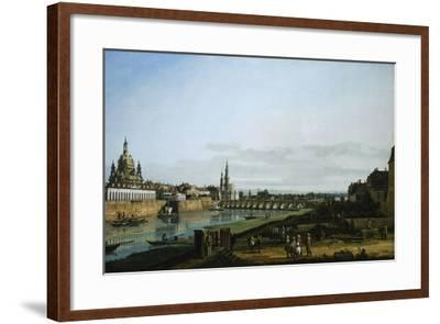 Dresden from Right Bank of Elbe Upstream from Bridge of Augustus, Circa 1750-Bernardo Bellotto-Framed Giclee Print