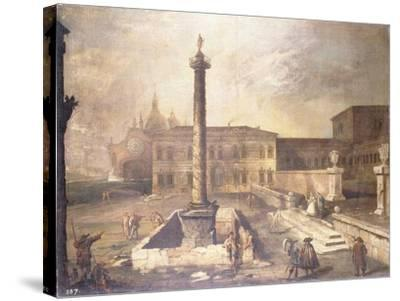 A Capriccio of a Piazza in Front of a Palace with the Column of Marcus Aurelius-Canaletto-Stretched Canvas Print