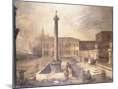 A Capriccio of a Piazza in Front of a Palace with the Column of Marcus Aurelius-Canaletto-Mounted Giclee Print