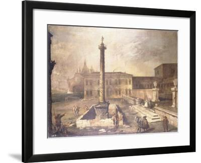 A Capriccio of a Piazza in Front of a Palace with the Column of Marcus Aurelius-Canaletto-Framed Giclee Print
