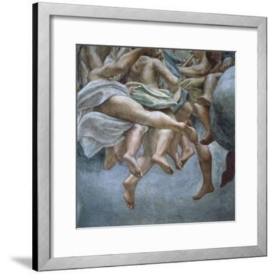 Angels, Detail of Frescoes from Section of Abraham and Isaac, from Dome of Parma Cathedral-Antonio Allegri Da Correggio-Framed Giclee Print
