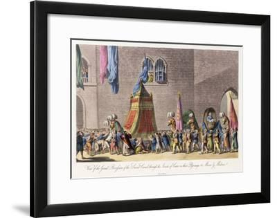 View of the Grand Procession of the Sacred Camel Through the Streets of Cairo-Cooper Willyams-Framed Giclee Print