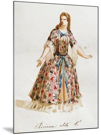 Costume Sketch for Role of Adriana in Opera Adriana Lecouvreur, 1899-1902-Francesco Cilea-Mounted Giclee Print
