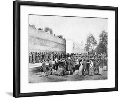 Recreation of the Massacre of 62 Hostages on the Rue Haxo, Belleville, Paris, 1871-Eugene Appert-Framed Photographic Print