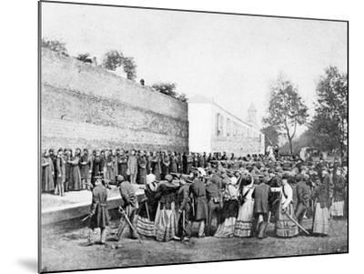 Recreation of the Massacre of 62 Hostages on the Rue Haxo, Belleville, Paris, 1871-Eugene Appert-Mounted Photographic Print