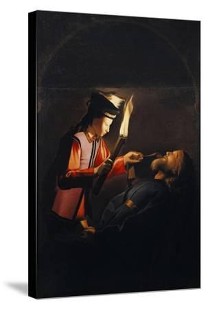Discovery of Body of St Alexis or Death of St Alexis-Georges de La Tour-Stretched Canvas Print