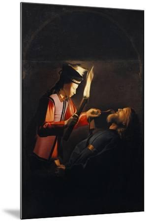 Discovery of Body of St Alexis or Death of St Alexis-Georges de La Tour-Mounted Giclee Print