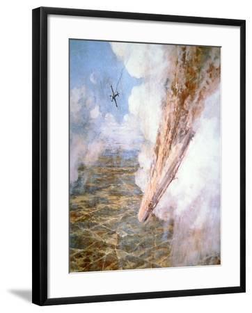 Lt Warneford Shoots Down a Zeppelin Raider over Belgium on 7th June 1915-Frederick Gordon Crosby-Framed Giclee Print
