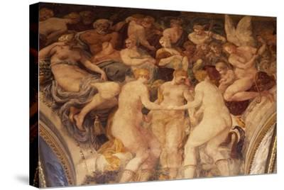 The Three Graces Dance before Gods' Assembly Fresco-Francesco Primaticcio-Stretched Canvas Print