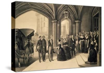 Louis-Philippe's Journey in England, 1844, King Being Received at Windsor Castle, October 8, 1844-Edouard Pingret-Stretched Canvas Print