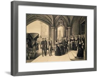 Louis-Philippe's Journey in England, 1844, King Being Received at Windsor Castle, October 8, 1844-Edouard Pingret-Framed Giclee Print